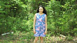 Rebecca Shift Dress Jennifer Paganelli Hotel Frederiksted Fabric Pink Blue Full Shot