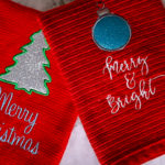 Embroider Holiday Kitchen Towels w/ Glitter Applique | DIY Christmas Gifts