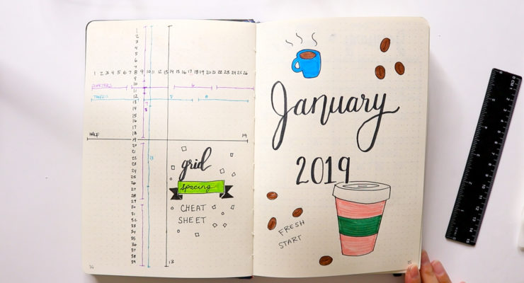Bullet Journal January 2019 Monthly Spread | BUJO FOR BEGINNERS