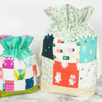 Scrappy Holiday Lined Drawstring Bags Tutorial | Easy Sewing Project